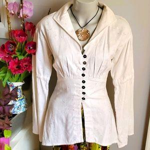 Anne Larochelle white linen tunic top, S